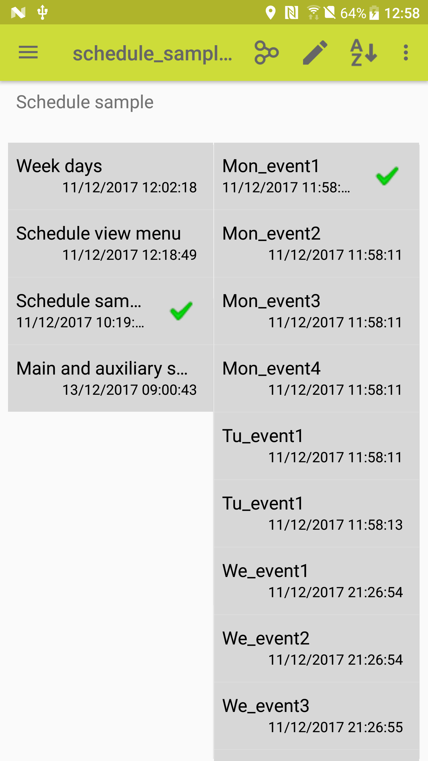 schedule events list sample
